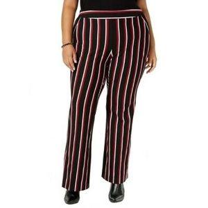 Inc Pants Boot Leg Black Red Striped Plus 16W NWT